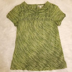 Banana Republic Short Sleeves Green Blouse Sz M